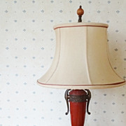 SALE Vintage Art Deco Lacquered Metal Lamp w Silk Shade