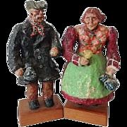 Old Scandinavian Folk Art Figurines - Signed