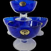 Vintage Cobalt Czech Bohemia Dessert Bowls