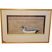 American Painting: Decoy w Ammunition Box - Signed
