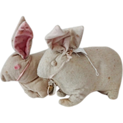 Stuffed Cloth Bunny Rabbits Pair - Collection De-accession