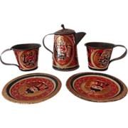Tin Doll Dishes - Coffee Pot, Cups, Plates