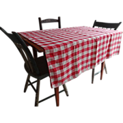 Linen Red White Checkerboard Tablecloth