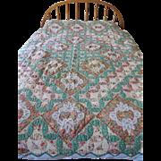 SALE Vintage Patchwork Quilt - Orange Peel Pattern