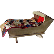 Old Dolls Cradle w Quilt and Pillow