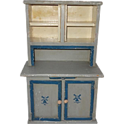 Old Painted Dollhouse Stepback Cupboard