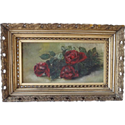 Victorian Painting on Canvas Framed - Red Roses
