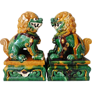 Old Chinese Terra Cotta Foo Dogs