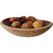 Old Wood Bowl with Dried Fruit