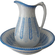 Blue Transfer Pitcher and Bowl Wash Set Aesthetic Movement
