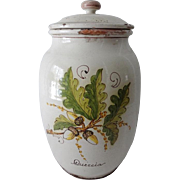 Vintage French Faience Storge Jar Canister HP