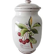 Vintage French Faience HP Storage Canister Jar
