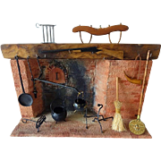 SOLD Dollhouse Colonial Fireplace w Accessories by Chestnut Hill Studio - Signed