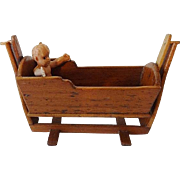 Dollhouse Colonial Cradle w Baby by Chestnut Hill Studio