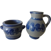 Doll House Salt Glaze Jug and Crock w Cobalt Decoration