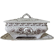 Ridgway Brown Transfer Tureen and Under Plate - Devonshire