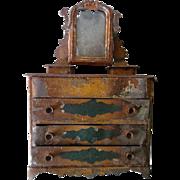 Antique Toy Tin Bureau w Mirror RARE