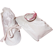 White Oil Cloth Doll Shoes for Composition or Bisque or Hard Plastic