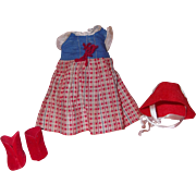"""Authentic Effanbee Baby Tinyette Dress & Hat for 8"""" Composition Doll"""