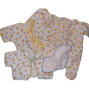 Authentic Tiny Tears 3 Piece Factory Pajama Set  ~Yellow Roses~ Adorable