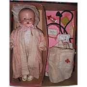 Horsman RARE Two-In-One Composition Baby Darling & Nurses Outfit Boxed Set ~ Complete