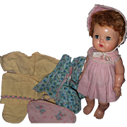 """Tiny Tears Rock A Bye Doll 12"""" w/Box and  3 Factory Outfits"""