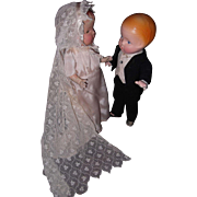 SOLD Congratulations to the Beautiful Composition Bride & Groom Dolls