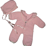 """Authentic Effanbee  Eiderdown 2 pc Pink Snow Suit for your 15"""" Baby Doll"""
