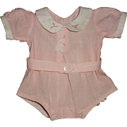 """Authentic Rare Dy-Dee Seersucker Pink & White Play Suit/ Romper for 15"""" Baby Doll"""