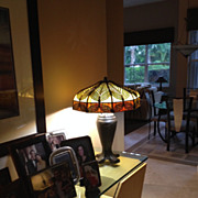 74- Handel arts and crafts peacock table lamp