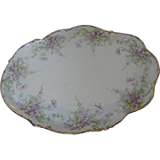 Limoges - Hand-painted 1896 - 1900 Lavender Floral Vanity Tray or Bridle plate - signed made i