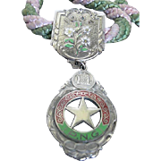 Vintage 100F Odd Fellow Pendant - PNG - White, green, red enameled medal - w/pink and green si