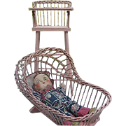 Vintage Pink Wooden Wicker Doll High-chair and Cradle - 1940's era - ***Doll not included ...
