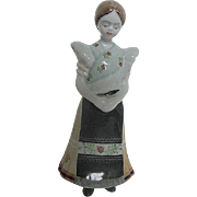 Vintage Hollohaza 1854 Ceramic Hand Painted figurine of a Young Lady wearing a Traditional ...