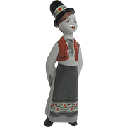 Vintage Hollohaza 1831 Ceramic Hand Painted figurine of a Young Boy wearing Traditional ...
