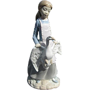 LLADRO-NAO Beautiful figurine of a Young Girl Holding a Goose by the Wings - Made ...