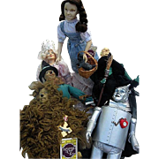 Wizard of Oz - Set of 7 Rubber and Cloth Dolls - Marked 1939 Lowes - 1966 MGM - 1967 Turner  -