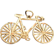 SOLD 14 Karat Gold Diamond Cut Bicycle Charm - Original Box