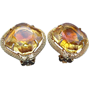 SALE Large Glass Amber colored stone earring set - 1950 era
