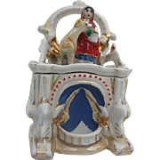 Antique Porcelain Fairing of Girl wearing Red Hooded Cape with her Dog inside a Fence ...