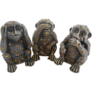 SOLD The Three Wise Monkeys - Hear No Evil, See No Evil, Speak No Evil - Pewter and Rhinestone