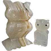 Vintage Carved White Onyx marbled stone Owl Figurines - Mexico