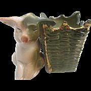 Old German Porcelain PINK PIG Series in Green Basket Toothpick Holder Fairing - 1890's - 1920'