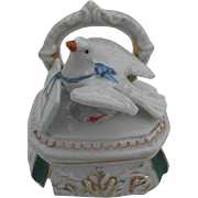 Early 1900 Fairing -  Porcelain Dresser with Dove delivering a Love Letter - Trinket Box - ...