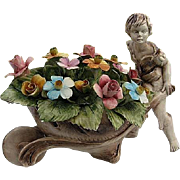 """Fabulous Capodimonte """"Boy Pushing Flower Cart"""" Statue - made in Italy Early 1900's"""