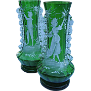 Stevens & Williams Hand-blown Hand-painted Boy & Girl Vase Pair - RARE Find