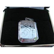 SALE Vintage Sterling Silver 925 Hand Engraved Design Etched Picture Locket Pendant