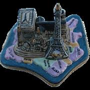 SALE Paris Landmarks on Map of France Limoges Box - Retired