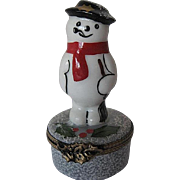 """Limoges Hand-painted """"Frosty the Snowman"""" trinket box - signed - France"""