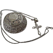 SALE Ornate Filigree Trinket/Rosary Box 800 Silver c.1900 with Sterling Silver chain and cross